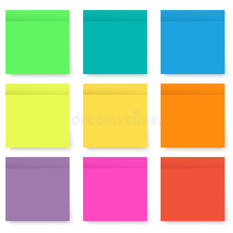 Set of blank bright and colorful sticky notes isolated on white stock photography