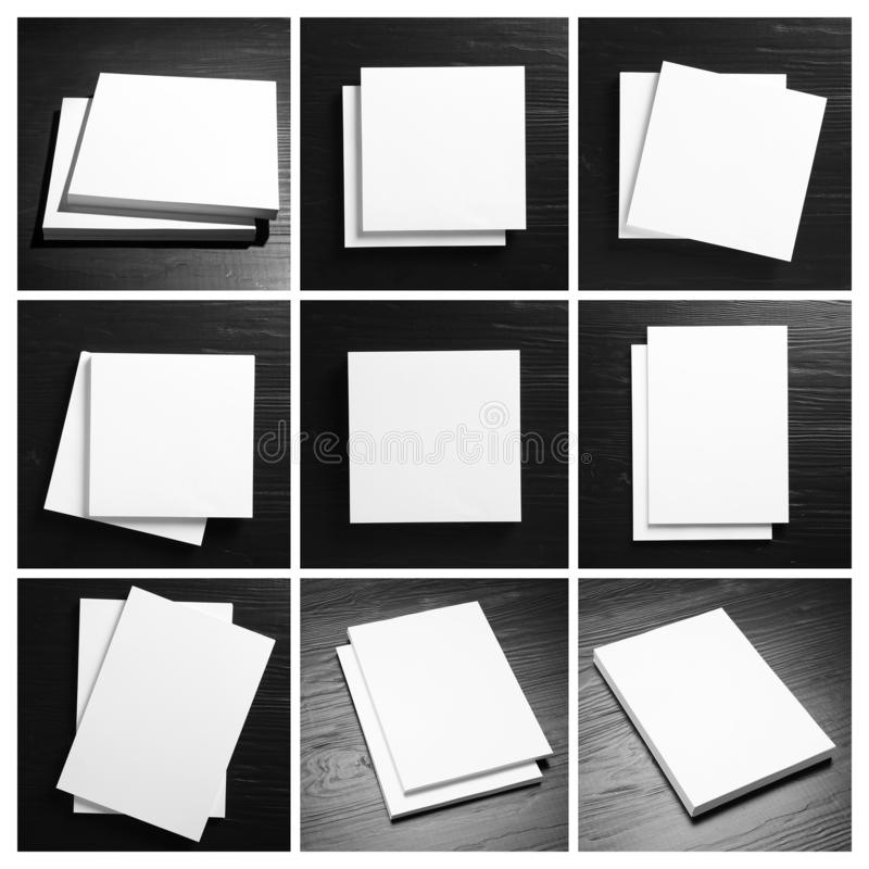 Set of blank brochures on black wooden table. Mock up for design stock photos
