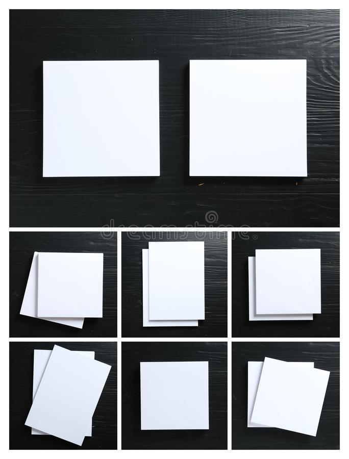 Set of blank brochures on black wooden table, top . Mock up for design. Set of blank brochures on black wooden table, top view. Mock up for design royalty free stock photography