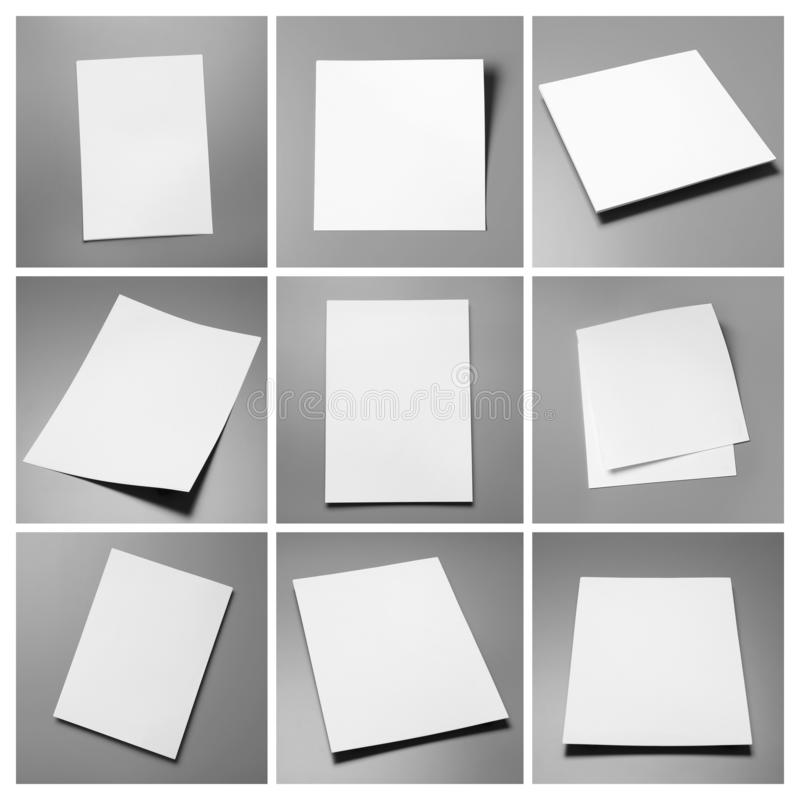Set of blank brochures on grey. Mock up for design. Set of blank brochures on grey background. Mock up for design stock photo