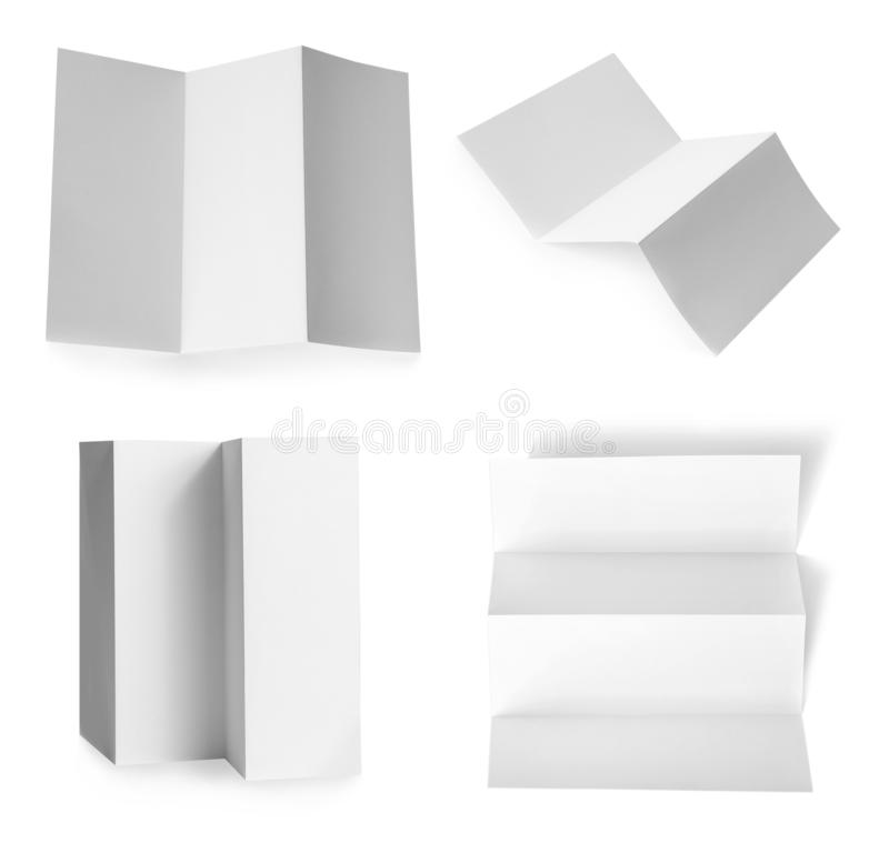 Set of blank brochures on white background. Mock up for design royalty free stock image