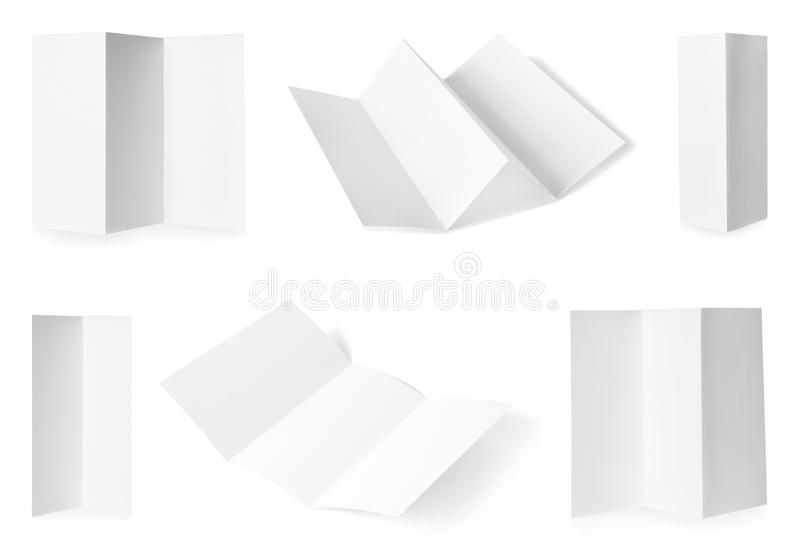 Set of blank brochures on white. Mock up for design. Set of blank brochures on white background. Mock up for design royalty free stock photos