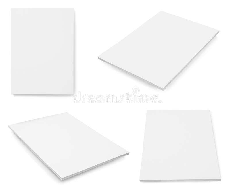 Set of blank brochures on white background.  up for design. Set of blank brochures on white background. Mock up for design royalty free stock photography