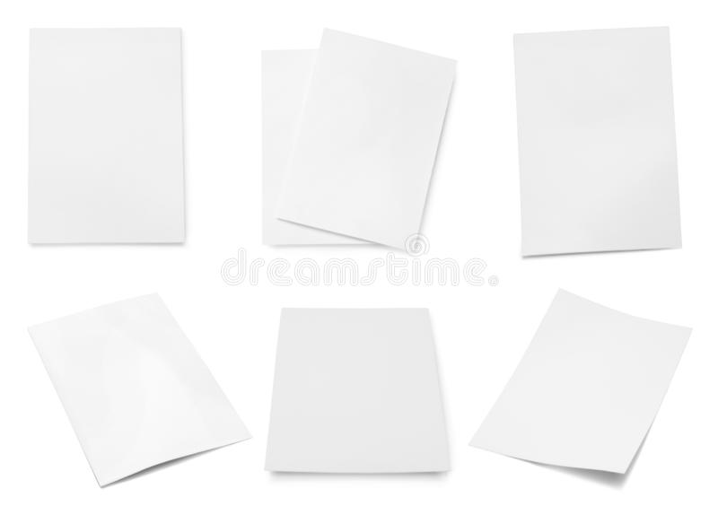 Set of blank brochures on white background. Mock up for design royalty free stock photos