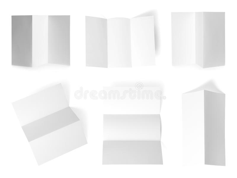 Set of blank brochures on white background. Mock up for. Design royalty free stock photos