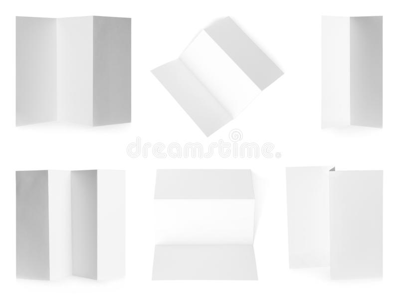 Set of blank brochures on white background. Mock up for. Design royalty free stock image