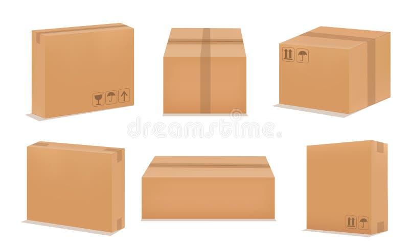 Set of blank cardboard packaging boxes. Set realistic Brown box. Vector illustration vector illustration