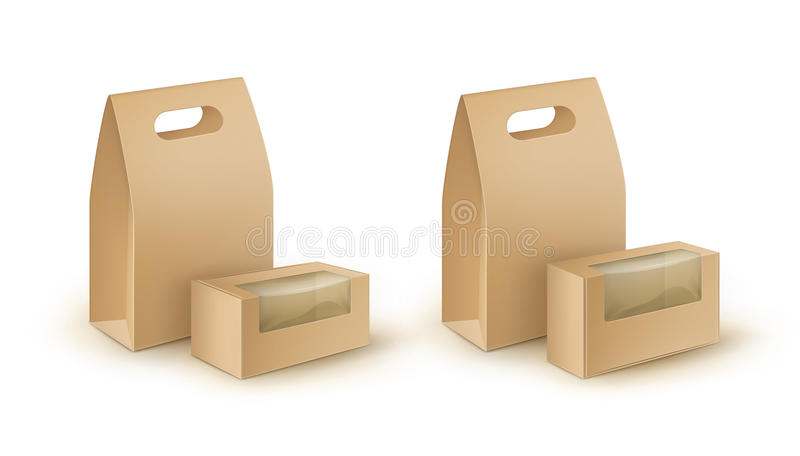 Set of Blank Cardboard Rectangle Take Away Handle Lunch Boxes Packaging For Food with plastic windows Close up Isolated. Vector Set of Brown Blank Cardboard stock illustration