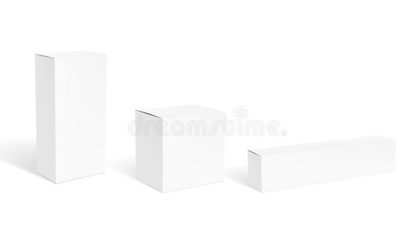 Set Of Blank Clear White Packaging Boxes For Cosmetic Or Medical Product. EPS10 Vector royalty free illustration