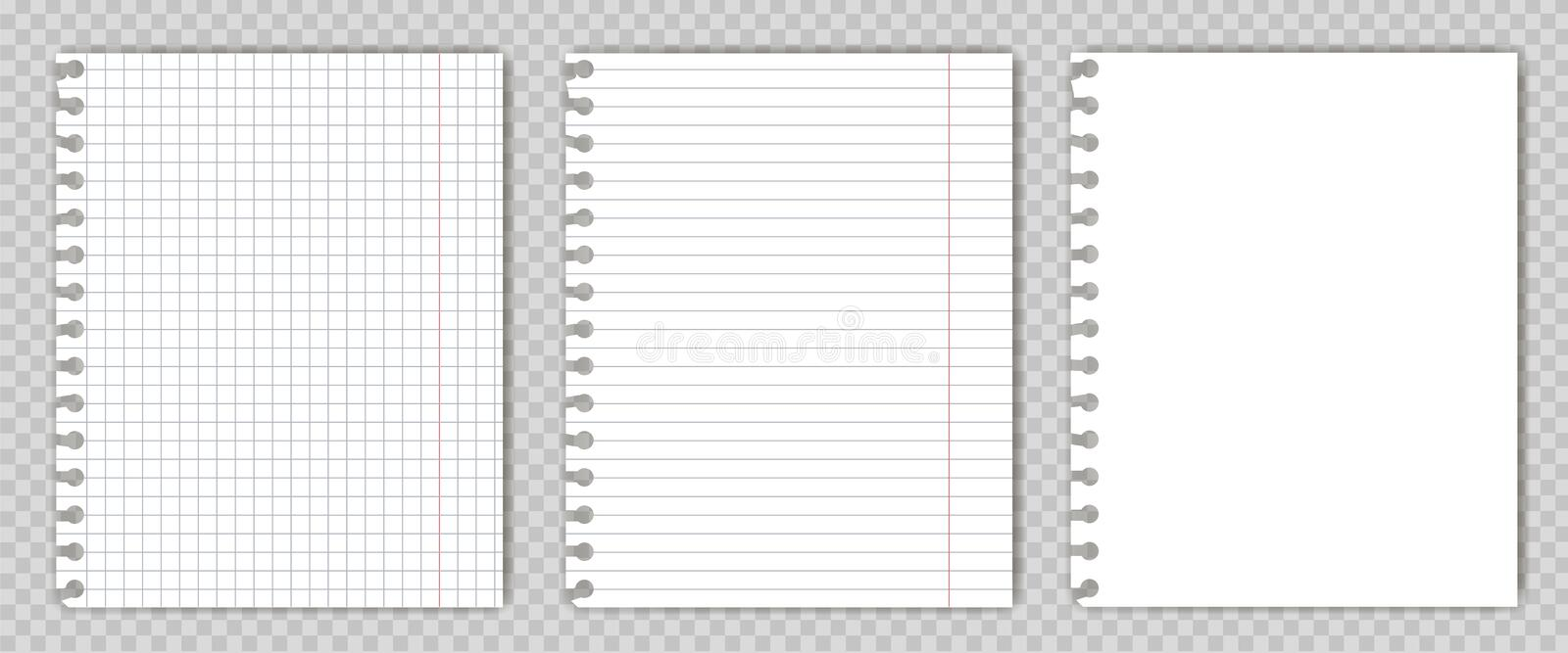 Set of blank copy book sheets with torn edges. Mockup or template of graph notepad pages for your text. royalty free stock photos