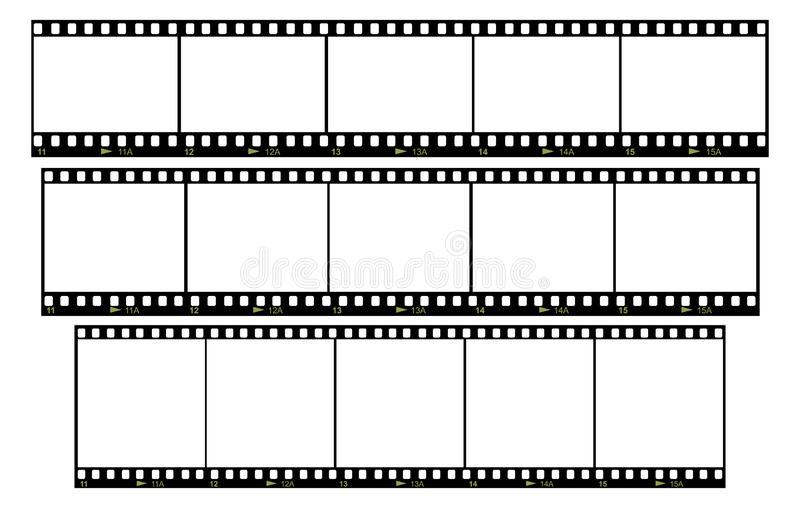 Set of blank film frames. Vector set of blank film frames with various aspect ratio royalty free illustration