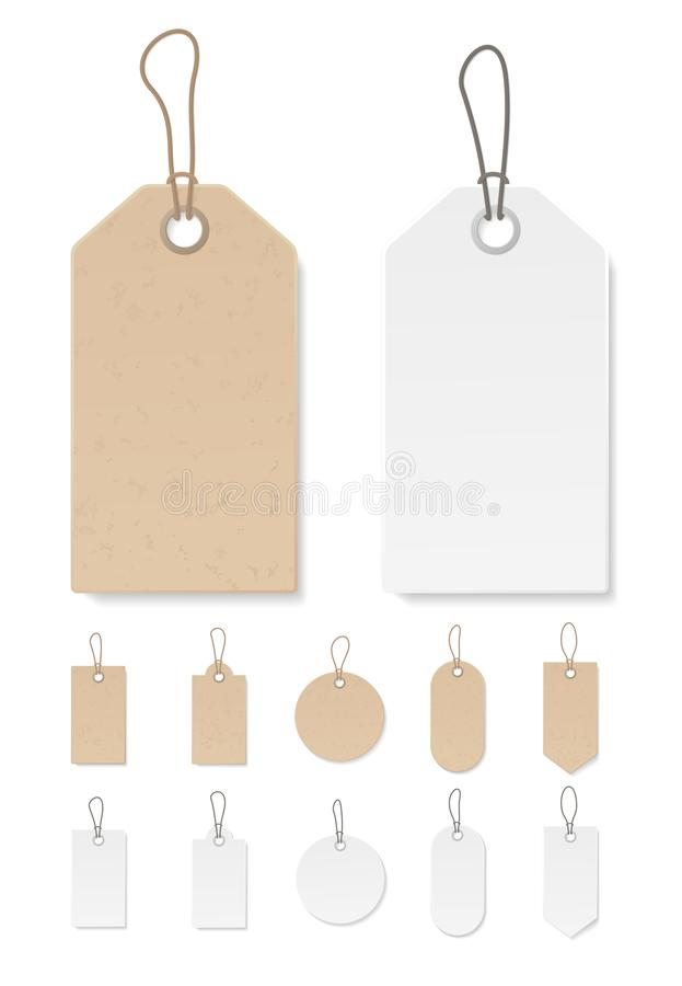 Set of blank gift box tags or sale shopping labels with rope. White paper and brown craft realistic material. Empty royalty free illustration