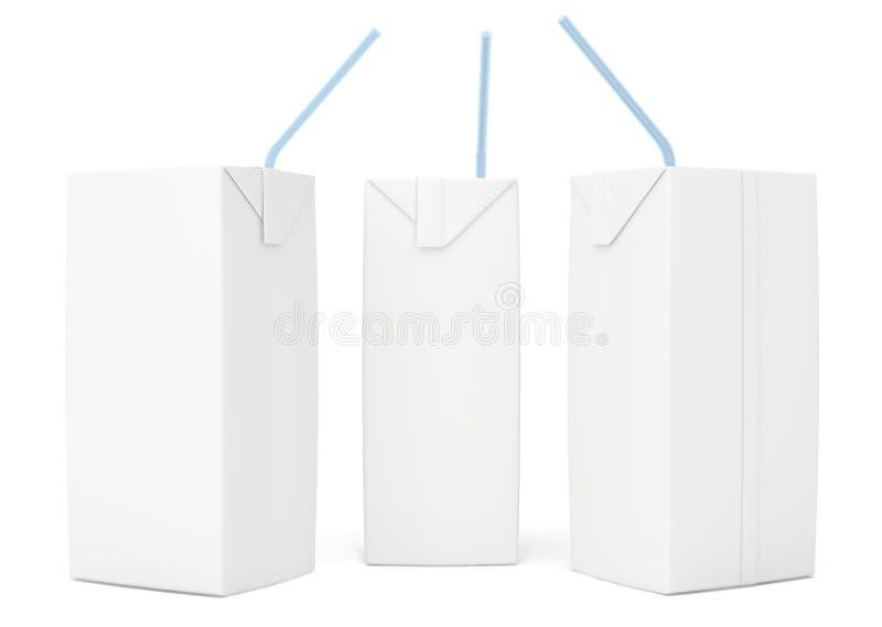 Set blank juice packaging. 3d render on white stock illustration