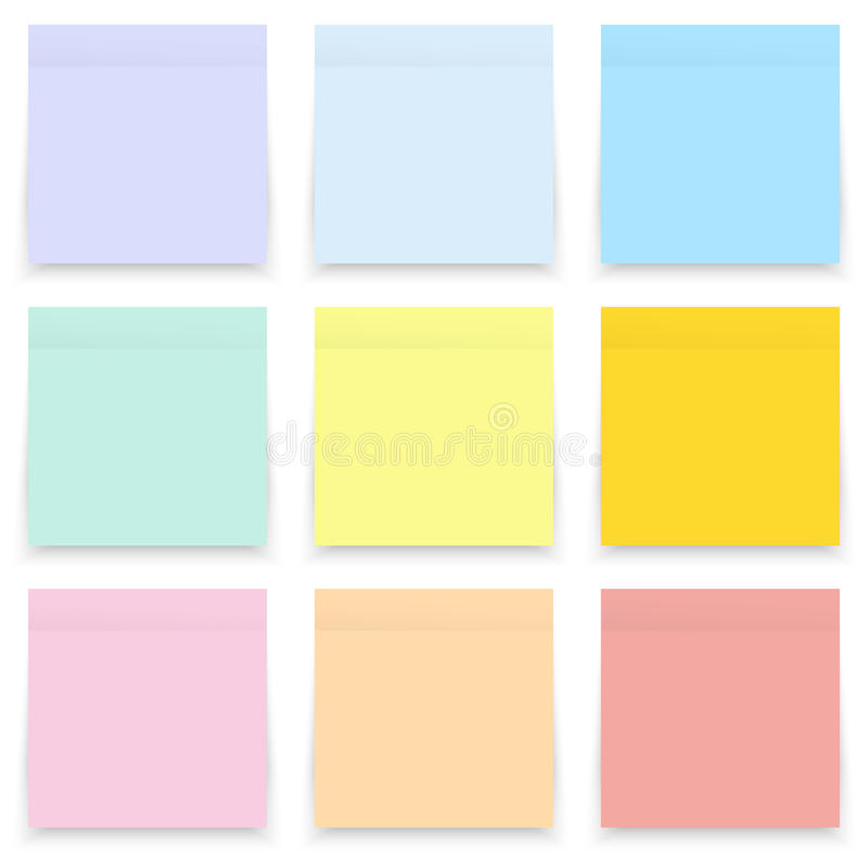 Set of blank pastel and colorful sticky notes on white royalty free stock images