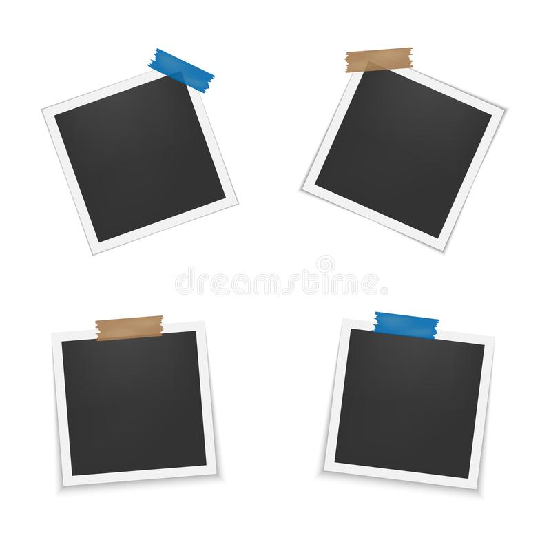 Set of blank photo frames with shadow. Empty template for photography and picture. Realistic blank instant photo card. Set of blank photo frames with shadow royalty free illustration