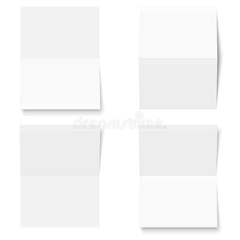 Set - blank sheet of white paper - folded royalty free illustration