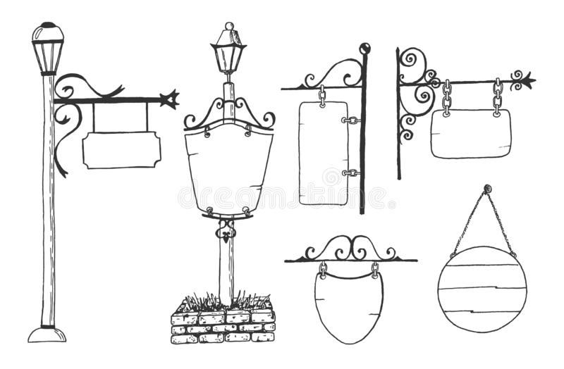 Set blank sign board, street lantern stock illustration