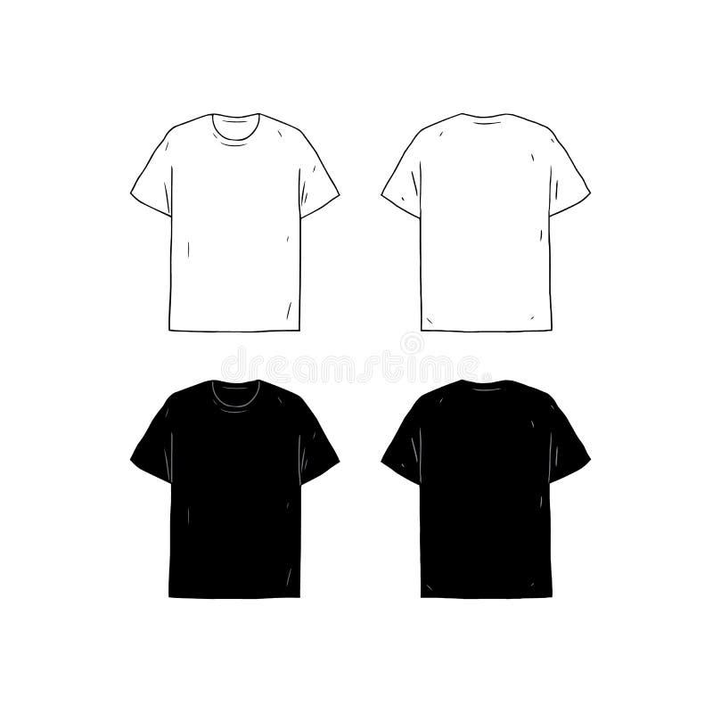 Set Of Blank Tshirt Design Template Hand Drawn Vector Illustration - Tee shirt design template