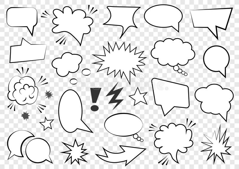 Set of blank template in Pop Art style. Vector Comic Text Speech Bubble Halftone Dot Background. Empty Cloud of Comics book dialog stock illustration