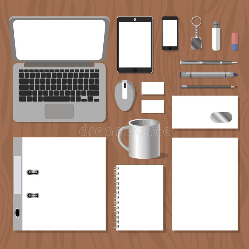 Set of blank templates mockup to demonstrate the corporate identity royalty free illustration