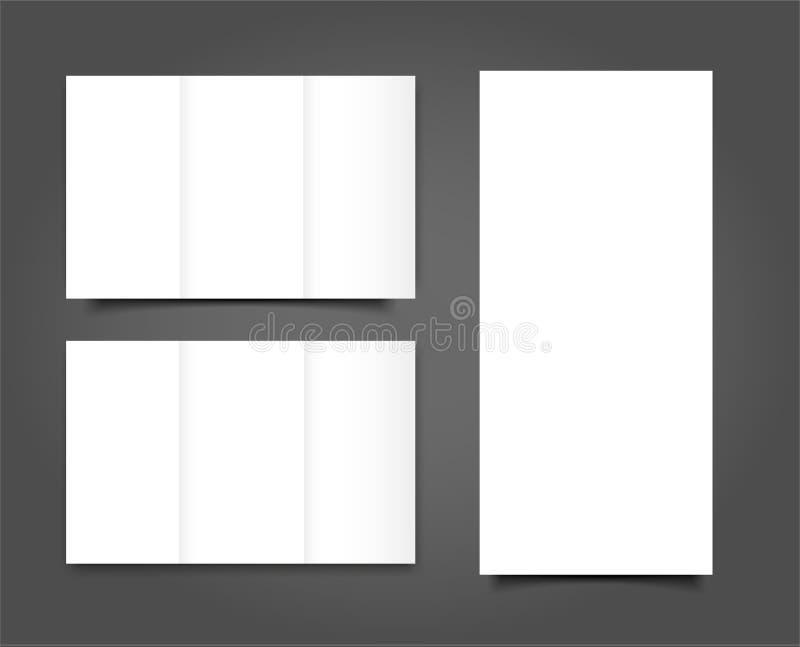 Set of Blank tri fold brochure mock up portrait cover. Isolated vector illustration