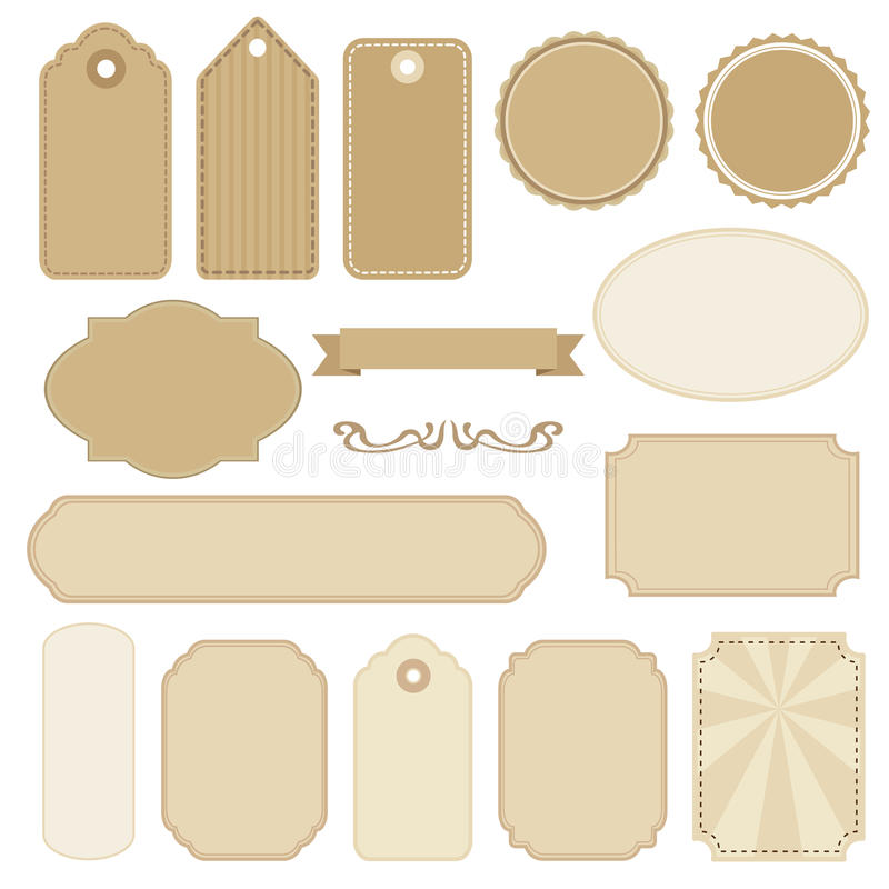 Download Set Of Blank Vintage Frames Tags And Labels S Stock Vector