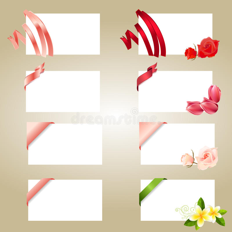 Set of blank white cards with ribbons stock illustration