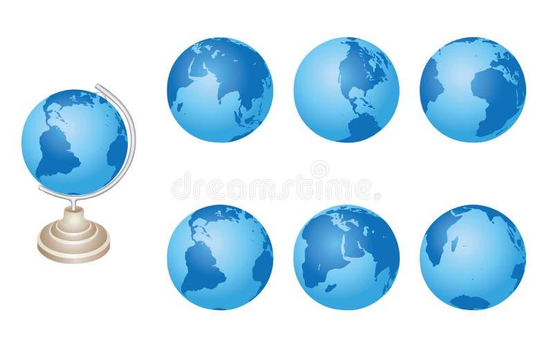 Set - blaue Kugeln von Erde - ENV lizenzfreie abbildung