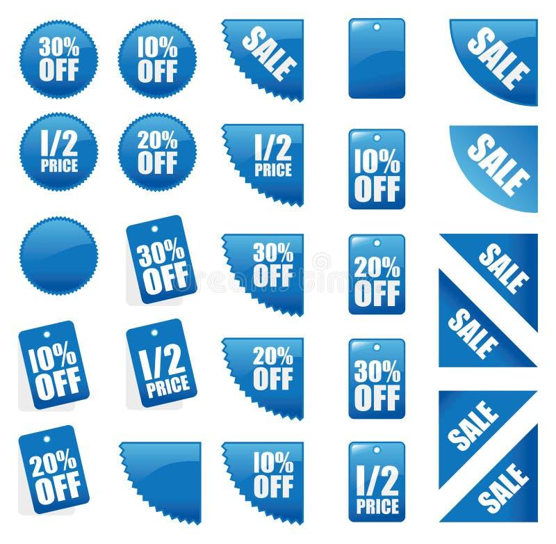 Set blaue Verkaufszeichen stock abbildung