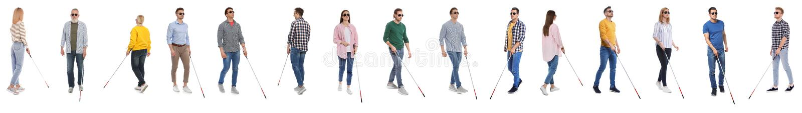 Set of blind people with long canes on white. Background royalty free stock photo