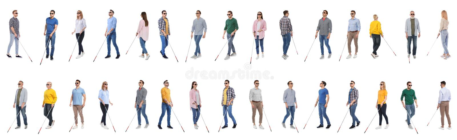 Set of blind people with long canes on white stock photo