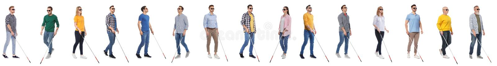 Set of blind people with long canes on white royalty free stock photo