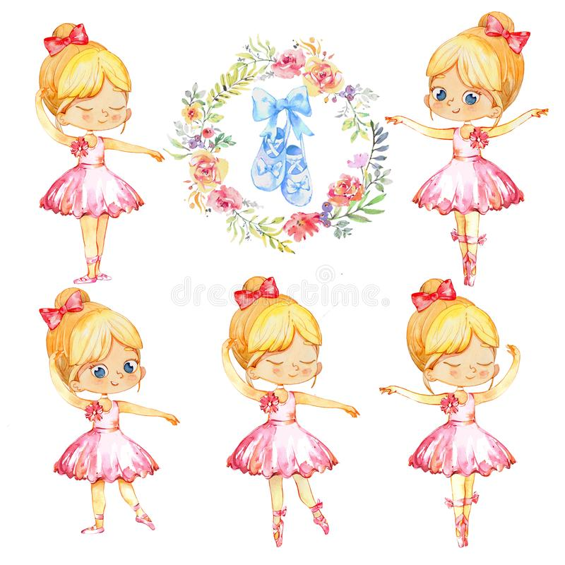 Set of Blond Ballerina Princess Character Dancer Girl. Cute Child Girls wearing pink Tutu Costume Training in School. Class. Baby Ballet Shoes Poster Design stock illustration