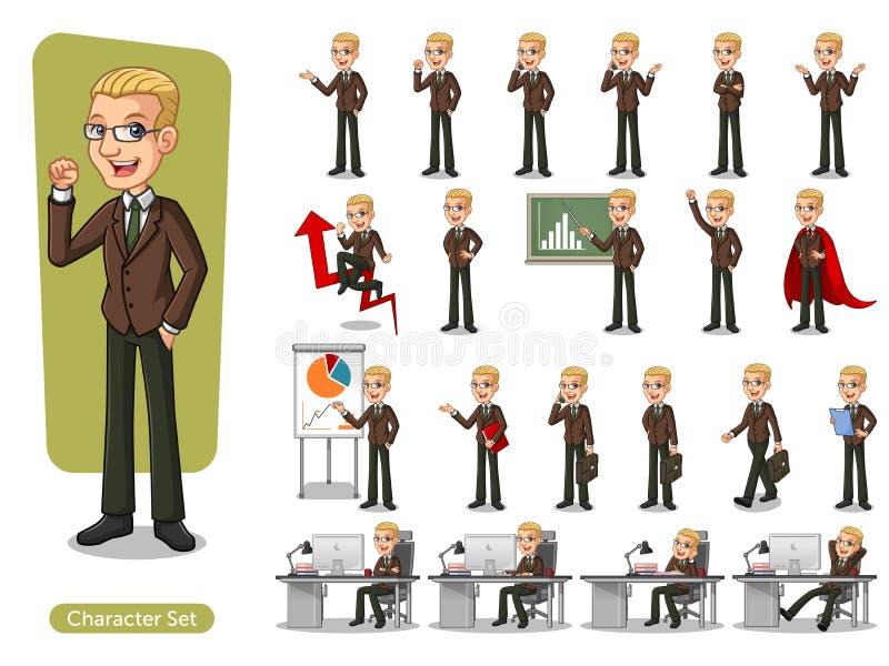 Set of blonde businessman in brown suit cartoon character design vector illustration