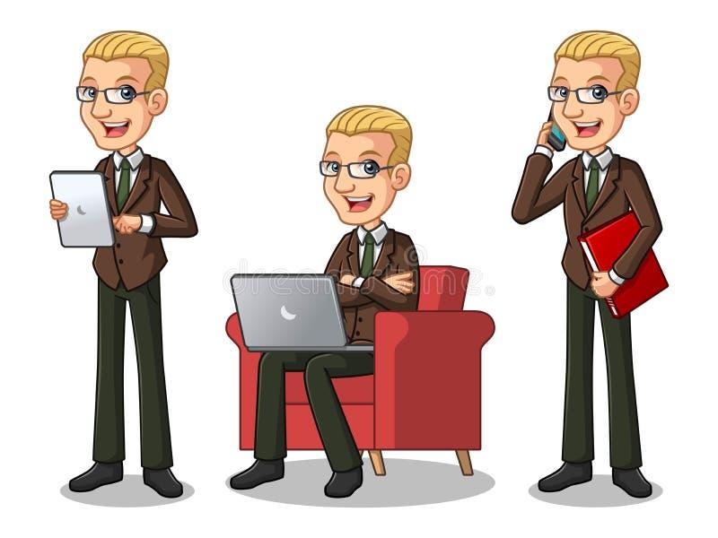 Set of blonde businessman in brown suit working on gadgets. Set of blonde businessman in brown suit cartoon character design working on gadgets, tablet, laptop stock illustration