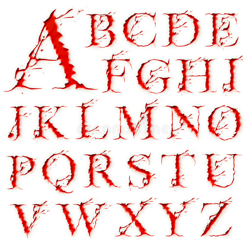Set of Blood Liquid letters vector illustration