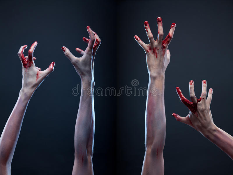 Set of bloody zombie hands royalty free stock photo