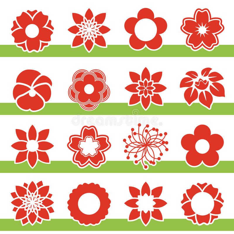 Set Of Blooming Flowers Symbol Icon Of Flower Stock Vector