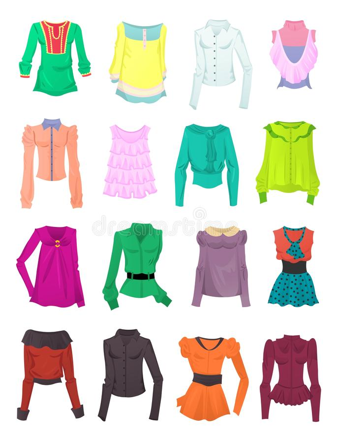 Set of blouses and tops. Isolated on white background stock illustration