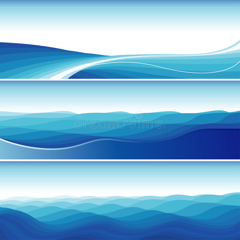 Set Of Blue Abstract Wave Backgrounds stock illustration