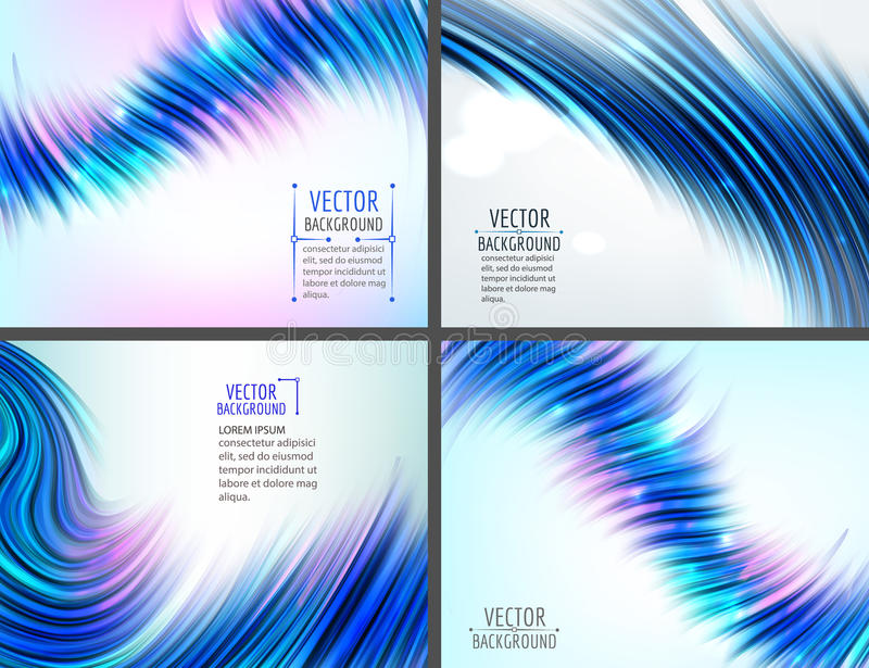 Set of 4 blue abstract wave backgrounds. Vector illustration royalty free illustration