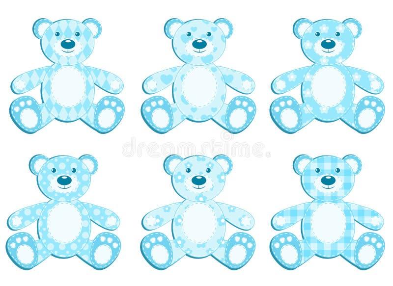 Download Set of blue applique bear. stock vector. Image of blue - 22438197