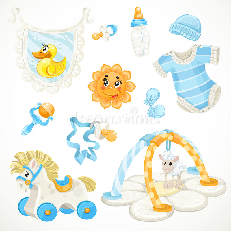 Set Of Blue Baby Toys Objects Clothes And Things Stock