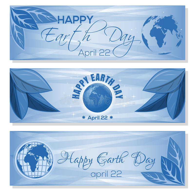 Set blue banners for Earth Day. April 22. Set blue banners for Earth Day with globe, leaves and greeting inscription. Happy Earth Day. April 22. Vector stock illustration