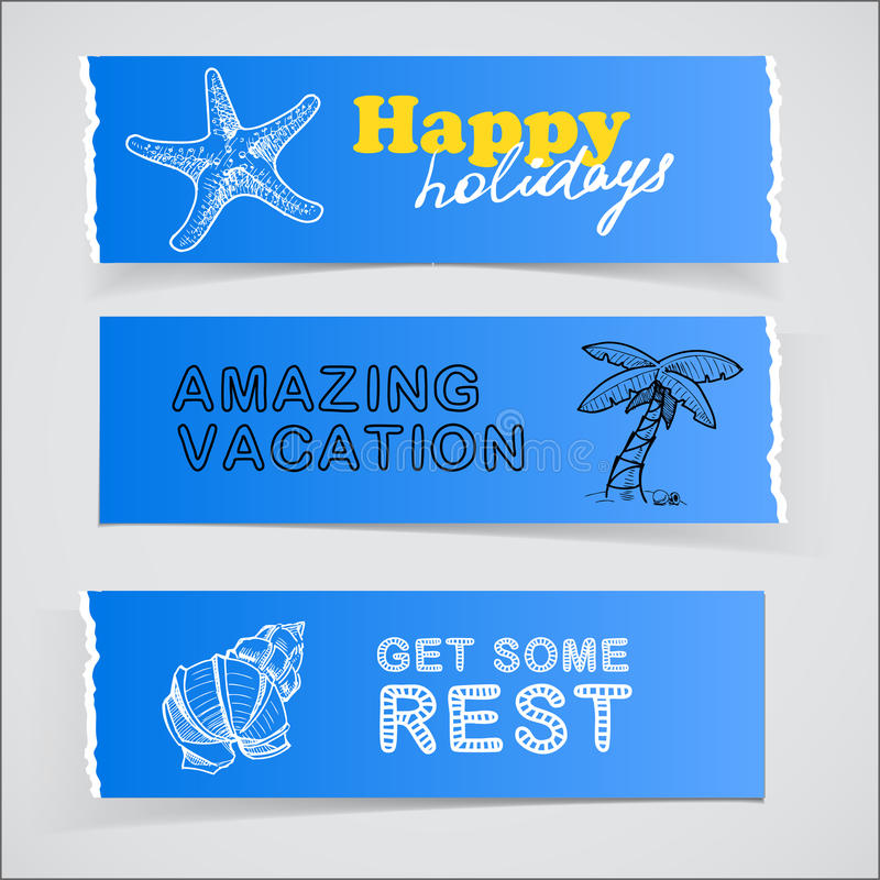 Download Set Of Blue Banners Vacation Sketch Illustrations Stock Illustration - Image: 32397825