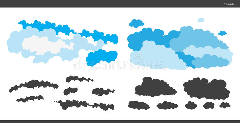 Set of blue and black clouds stock photography