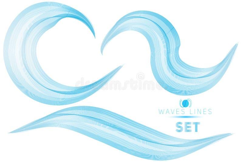 Set blue blend massive waves water abstract background for desig. N template vector illustration