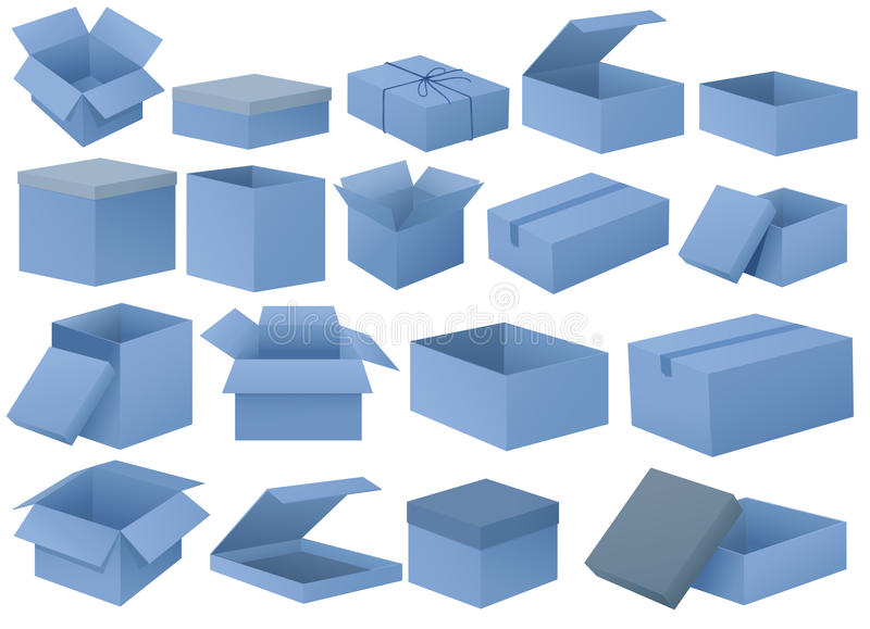 Set of blue boxes. Illustration of the set of blue boxes on a white background royalty free illustration