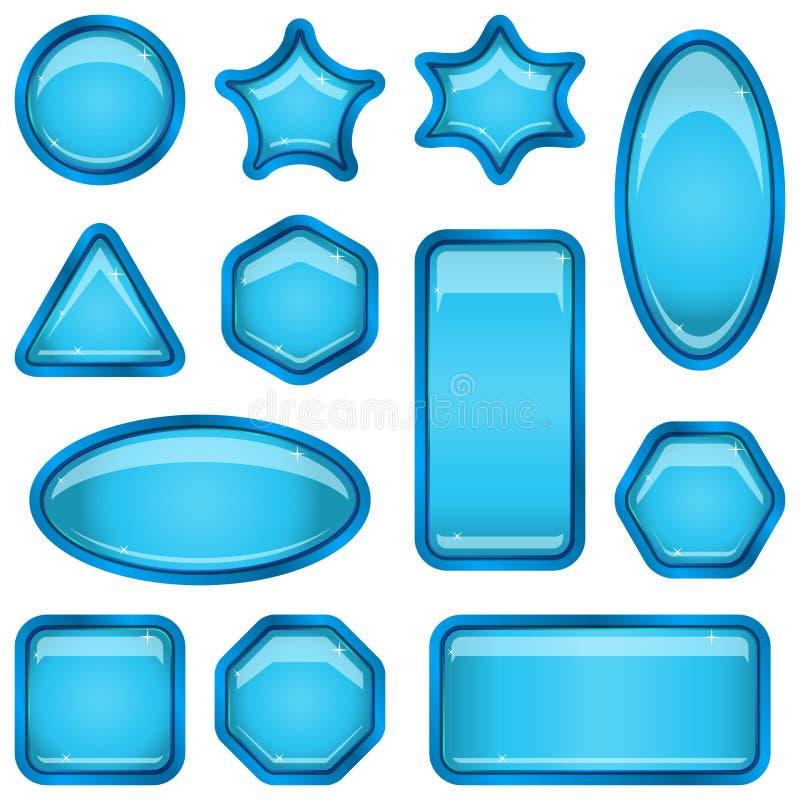Set blue buttons vector illustration