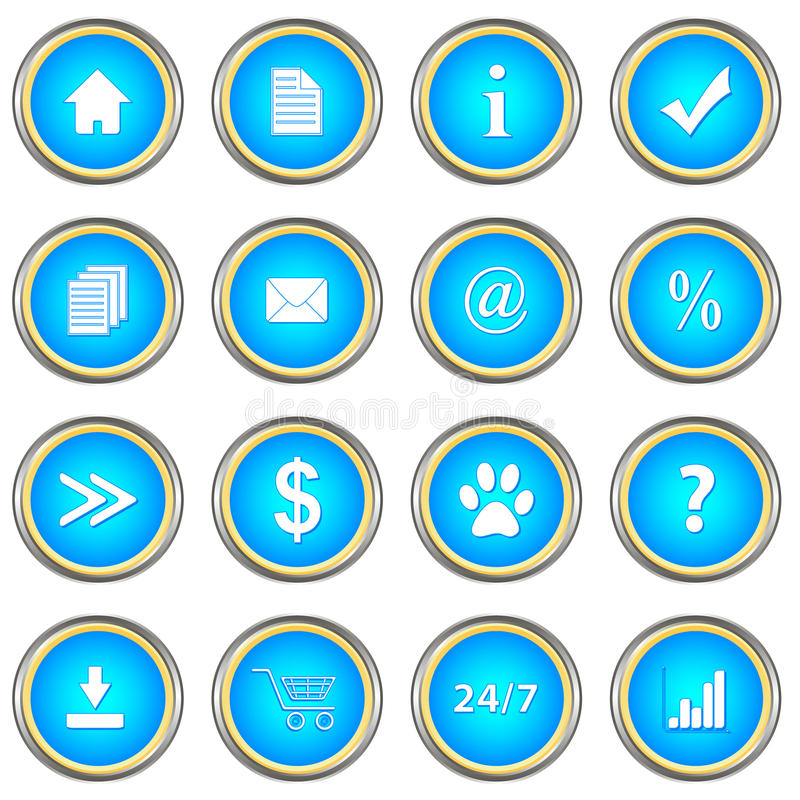 Download Set of blue buttons stock vector. Illustration of mail - 31061374
